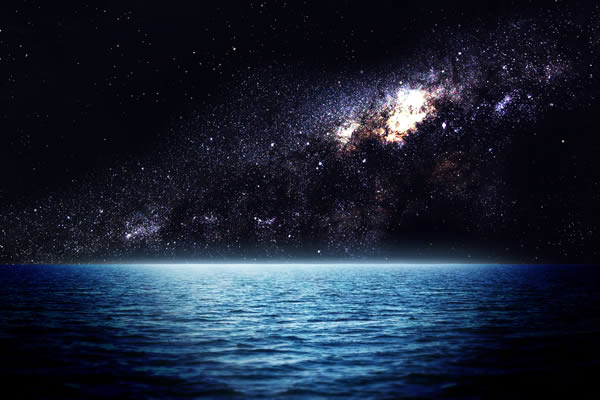 night sky over water
